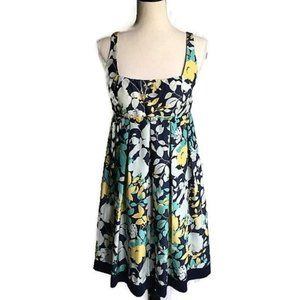 Max and Cleo Blue/Yellow Floral Silk Dress-Sz 6